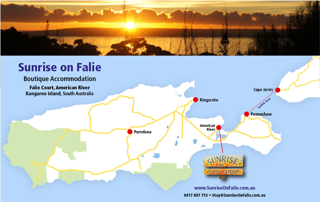 Map Of Australia Kangaroo Island.Sunrise On Falie 0417 897 715 Kangaroo Island Accommodation